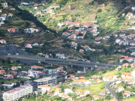 Machico Viaduct and, from left to right, Fazenda Tunnel westbound and Fazenda Exit Branch Tunnel eastern portals