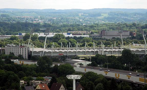 BayArena (Leverkusen) vom Wasserturm aus gesehen