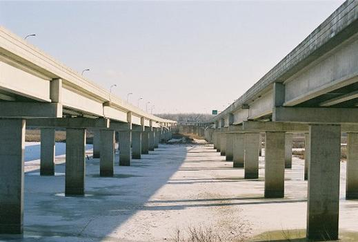 Views of the Cedar Avenue Bridge crossing the Minnesota River.
