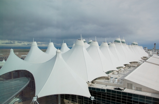 Denver International Airport Passenger Terminal - Looking out over the membrane roof.