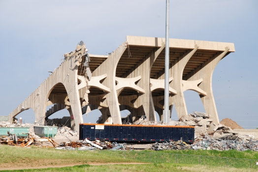 Hughes Stadium under demolition