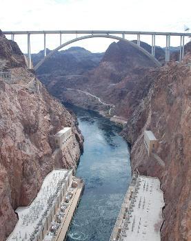 Mike O'Callaghan-Pat Tillman Memorial Bridge with the Hoover Dam powerhouses down below