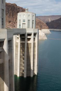 Hoover Dam - View of the water intake tower.