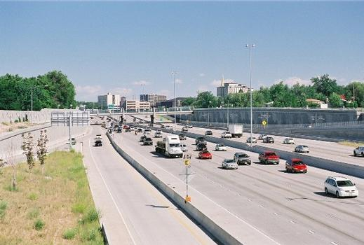View of I-25 just south of downtown Denver