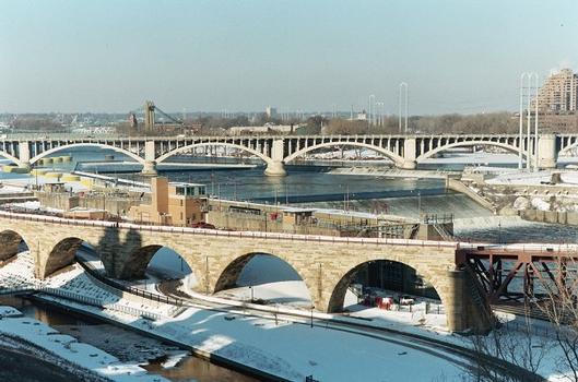 James J. Hill Stone Arch Bridge & Upper Saint Anthony Falls Lock & Dam & Third Avenue Bridge