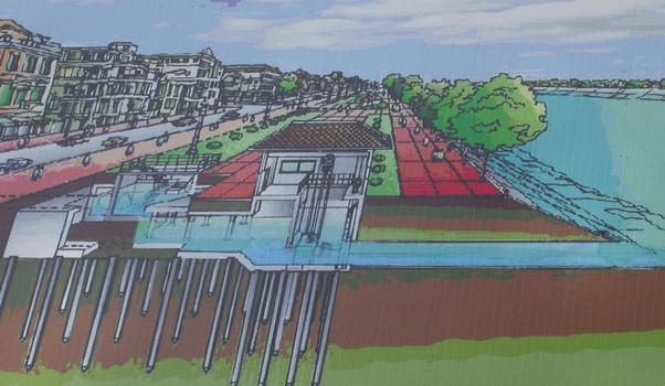 Auslauf für Regenwasserbecken