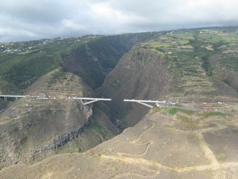 Viaduc de la Grande Ravine. Vue aérienne de la ravine et du viaduc après les lançages L5 sur les 2 rives. Il reste 48m entre les 2 tabliers