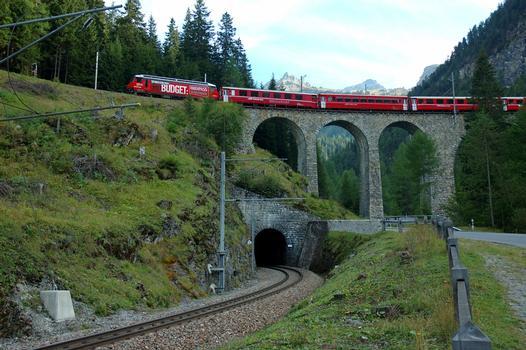 Albula III Viaduct with Toua Tunnel portal below