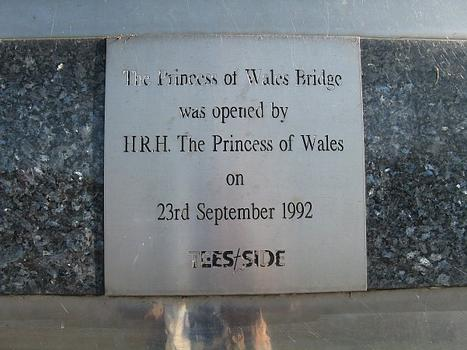 Plaque on the Princess of Wales Bridge.