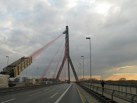 Düsseldorf, Fleher Brücke, Seilaustauscharbeiten