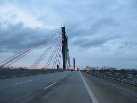 Bridge over the Rhine of the A 44 Motorway (Germany) in the north of Düsseldorf