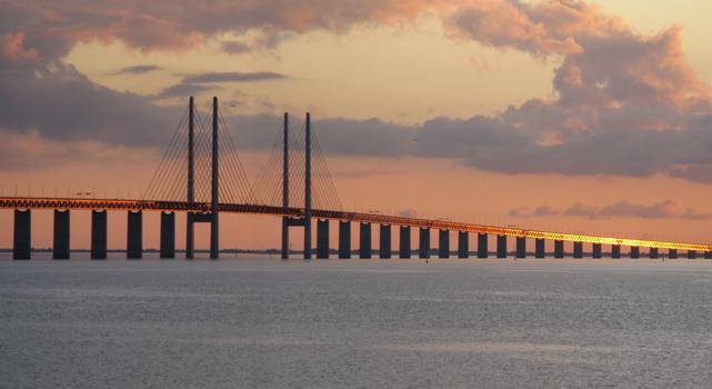 Öresund-Brücke, vom Aussichtspunkt Malmö gesehen