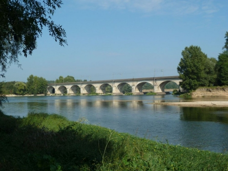Die zweigleisige Eisenbahnbrücke quert die Loire kurz vor der Mündung des Chers.