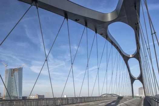 Stabbogenbrücke aus Stahl und Beton (Fahrbahnplatte) mit einer Gesamtlänge von ca. 200 m und Stützweiten von 175 m. Leistungen Schüßler-Plan: Projektsteuerung Stufe 1 – 5, Handlungsbereiche A – E