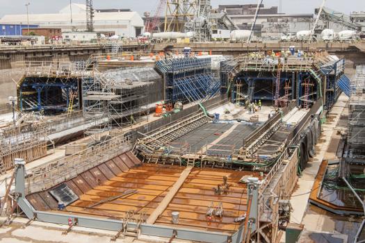 Insgesamt elf Tunnelsegmente mit je 106 m Länge werden im Trockendock in Baltimore mit Doka-Schalung betoniert