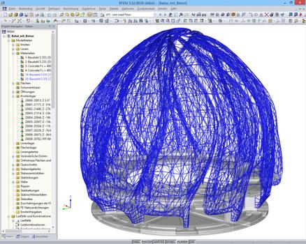 RFEM-Modell der Stahl- und Betonkonstruktion