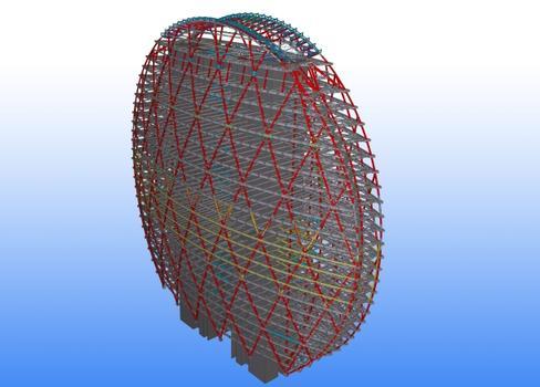 Große Firmen sind oft Vorreiter für die Anwendung der BIM-Methode (hier der Aldar-Firmensitz in Abu Dhabi während des Baus (Bild 1) und als BIM-Modell (Bild 2))