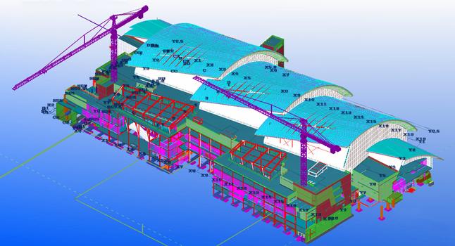 Die komplexen Formen insbesondere der Dachkonstruktion erfordern eine detailgetreue 3D-Modellierung.