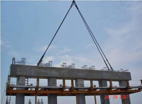 Precast reinforced concrete caps designed with LEAP RC-PIER were used for the majority of the spans