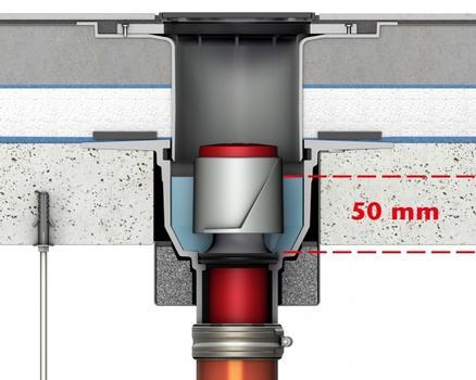 Die geforderte Mindesthöhe für Geruchverschlüsse in Bodenabläufen liegt europaweit bei 50 mm.