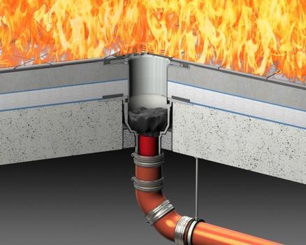 ACO Bodenablauf Passavant nach Verschluss des oberen Brandschotts.