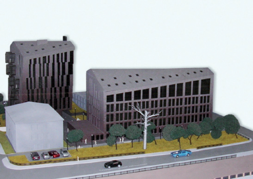 3D-Modell der beiden Art-House-Gebäudeteile