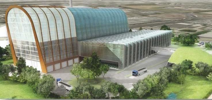 Visualisierung: Die in Bau befindliche Müllverbrennungsanlage in Leeds besteht aus drei Gebäude tein. Rechts im Bild die mechanische Vorbehandlungshalle mit 18 m Höhe, daneben hoch auf ragend steht die2 m hohe Energirückgewinnungsanlage. Ganz rechts im Bild ist die begrünte Halbkuppel der Asche-Lagerhalle