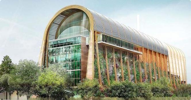 Visualisierung: Das 42 m hohe Hauptgebäude bilden BS-Holz-Rahmen.