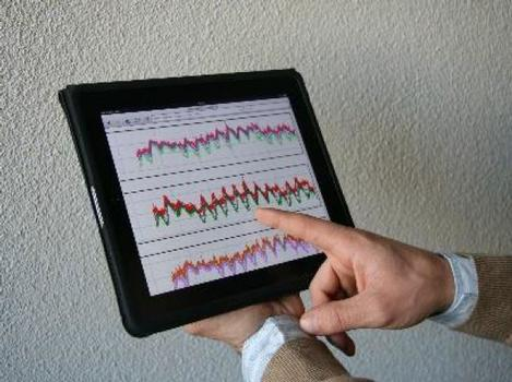 Example of data from a ROBO®CONTROL SHM system (viewed on a tablet device)