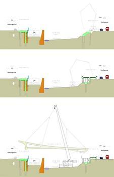 Passerelle Paul-Amann, Vienne - phases de construction (1ère partie)