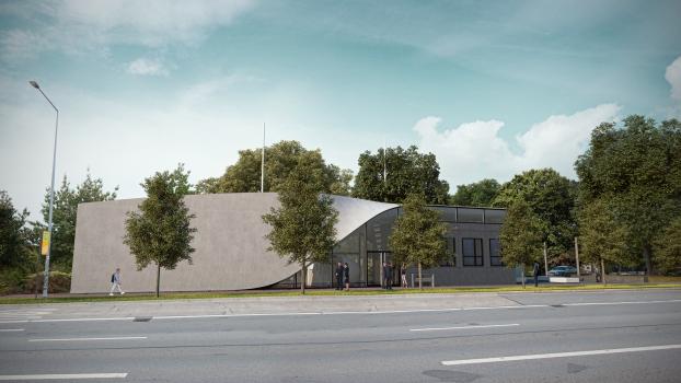 Das welterste Gebäude aus Carbonbeton in Dresden als Visualisierung