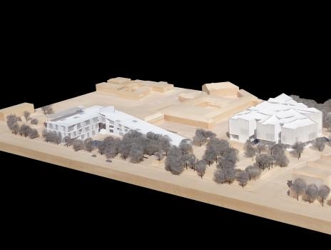 Die Glassell School of Art steht in direkter Nachbarschaft zum Museum von Ludwig Mies van der Rohe und dem ebenfalls von Steven Holl entworfenen Kinder Building.