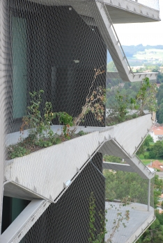 A natural green façade will gradually grow over the tower to a full cover on up to 1,200 square meters. : A natural green façade will gradually grow over the tower to a full cover on up to 1,200 square meters.