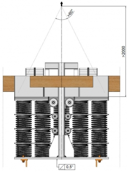 Design of the biggest TMD for the Jianghai Navigation Bridge: The unstressed height of the springs is 4 m, compressed they are just 960 mm high. The total dimension at full vertical amplitude is 1,000 x 1,730 x 1,880 mm.