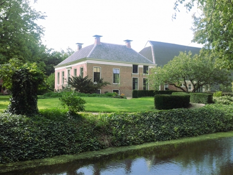 The renovated farmhouse rests completely on seismic isolators.