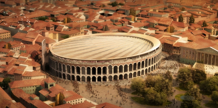 The new roof of the Arena di Verona