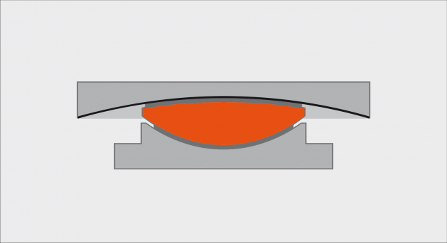 Schematic representation of a cross section of a sliding isolation pendulum. The inner red calotte can slide against the upper concave sliding plate with a pendulum move.