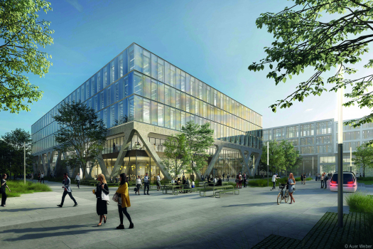 AirportAcademy mit rund 15.000 m² Bruttogeschossfläche : Das fünfstöckige Schulungsgebäude mit über 15.000 m² Bruttogeschossfläche wird ab Ende 2022 als Trainingszentrum der Flughafen München GmbH genutzt.
