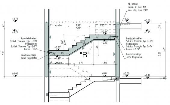 Die Anforderung der filigranen Treppenläufe wurde statisch mit stärkeren Podesten kompensiert und konnte optimal umgesetzt werden.
