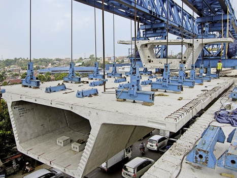 Some precast segments and the launching gantry