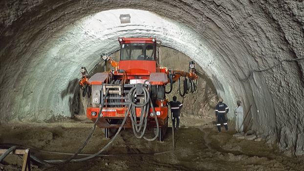 Excavation in one of the three tunnels