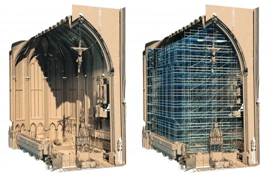 Der Innenraum des Ulmer Münsters wurde in ein 3-D-Bauwerksmodell überführt – als Grundlage für die BIM-unterstützte Gerüstplanung.