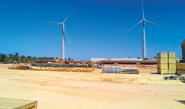 Two out of 69 new wind towers that were erected in the Itarema Wind Park.