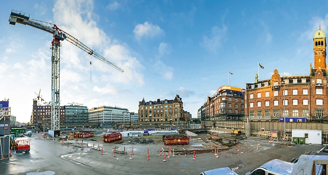 Panorama view of a jobsite in central Copenhagen