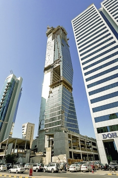 The Crystal Tower is 250 m high; on the photo, it was still under construction.