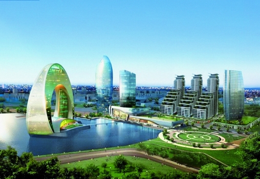 That's how Crescent Bay will look like soon. Baku's new urban development project is named after the Hotel La Luna (left)