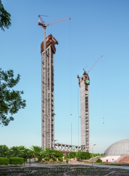 The two 155 m high towers have trapezoidal-shaped, extremely slender ground plans