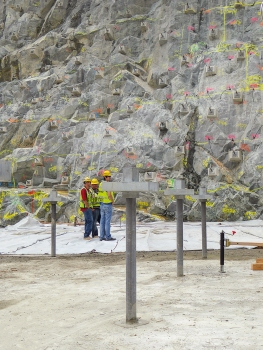 Tendons were installed in the approach slab of the spillway chute.