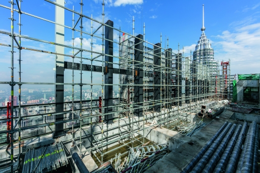 In Kuala Lumpur, the numerous reinforcing steel ribs could easily be modified with the flexible scaffolding system.  : In Kuala Lumpur, the numerous reinforcing steel ribs could easily be modified with the flexible scaffolding system.
