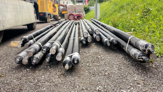 Twelve tensile piles had been used as a tieback solution.